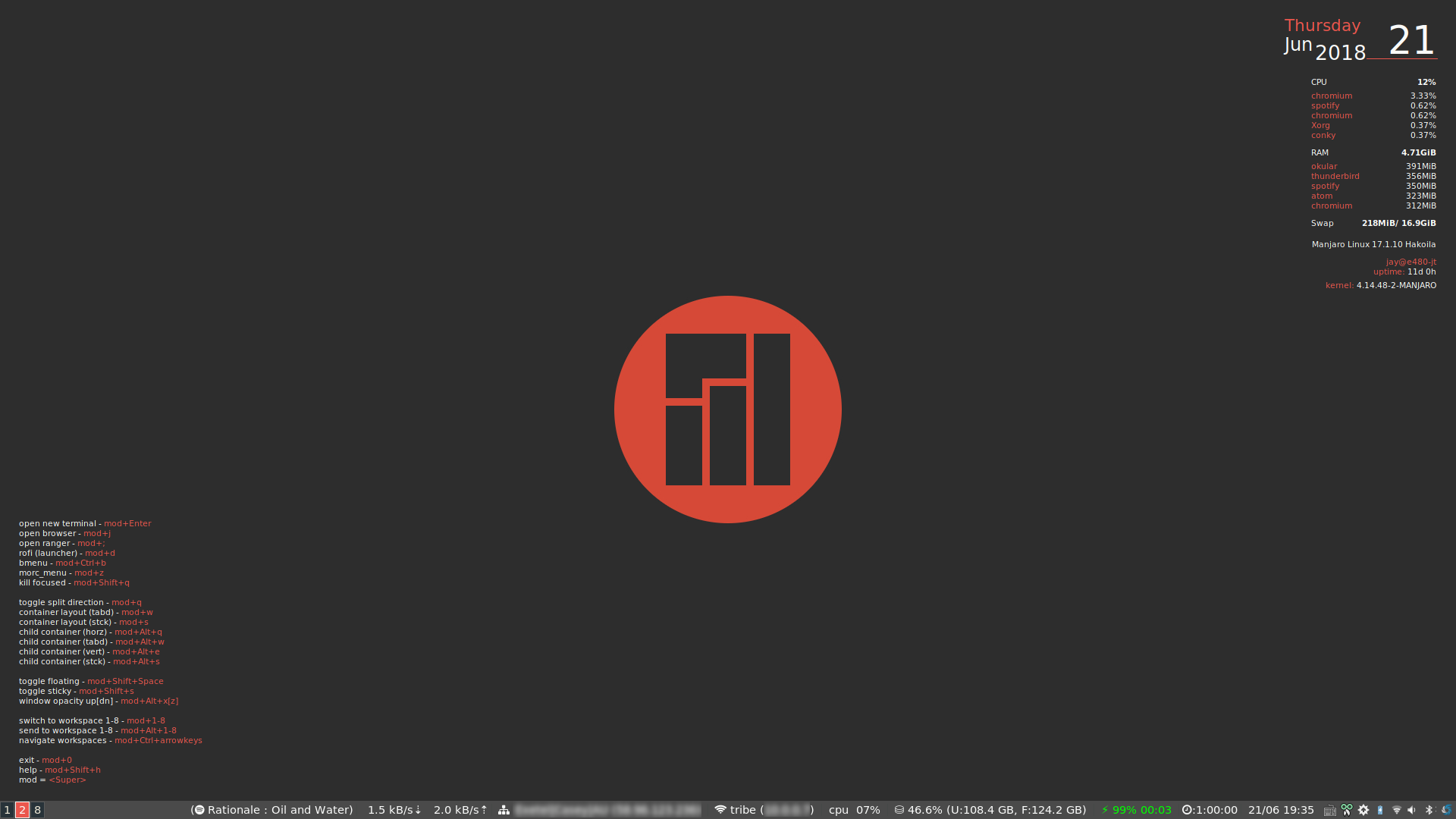My Manjaro i3 setup - Tech Knowledge Base - jaytaala com Confluence